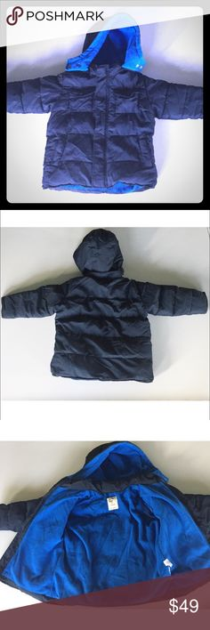 Old Navy Parka - Fleece Lining & Detachable Hood Navy with bright blue fleece inside. Detachable hood. Two pockets at chest and two pockets at hips. Zips with Velcro at top and bottom to keep wind shield for zipper in place. Good snaps on and off. Old Navy Jackets & Coats Puffers
