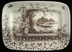 Brown Aesthetic Movement Platter ~ RUSTIC 1886