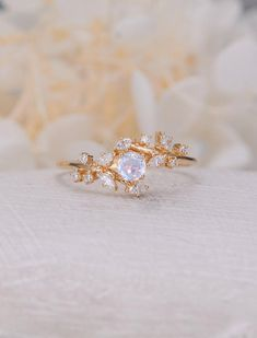 Vintage moonstone woman rose gold Diamond Cluster ring Unique engagement ring leaf wedding women Bridal Promise Anniversary Gift for her Rose Gold Engagement Ring, Engagement Ring Settings, Vintage Engagement Rings, Diamond Wedding Bands, Wedding Rings, Solitaire Engagement, Diamond Cluster Ring, Diamond Jewelry, Diamond Rings