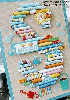 creative use of papers to make letters.    Cut out poster board in letter shape and glue papers to it.  Fun for kids room.