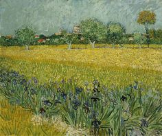 Art of the Day: Van Gogh, View of Arles with Irises in the Foreground, May 1888. Oil on canvas, 54 x 65 cm. Van Gogh Museum, Amsterdam.