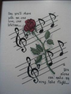 Rose and Music Cross Stitch Pattern