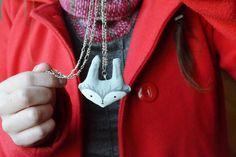 Gray Bunny Pendant Necklace Jewelry Handmade by Mandarinas de Tela #mandarinasdetela