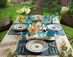 Marrakesh dinnerware set is completed with blue color bring a cheerful feeling of spring and summer time. Multiple colors and an exquisite pattern to bring a cheerful feeling to the table Food Safe Safe for microwave and dishwasher Lead and Cadmium free Hand crafted . Made of high fired ceramic material