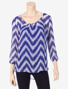 Halo Wavy Chevron Layered Top – Misses - Blouses | Stage Stores