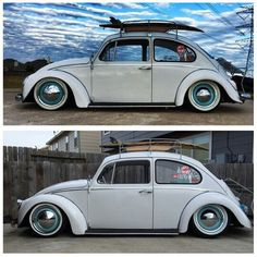 Inspiration...white vw beetle with blue wheels and white walls.