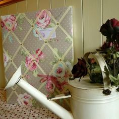 Fabulous Floral Fabric Noticeboard!  Max's Boardroom at TheDesignBasket.com