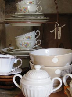 creme wedgewood mixed with hand painted soup bowls