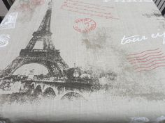 Natural Linen tablecloth 54'' X 108'' Paris letter by LINENSPRING