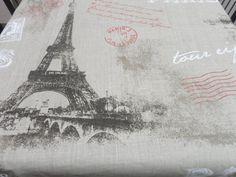 Natural Linen tablecloth 54'' X 108'' Paris letter by LINENSPRING