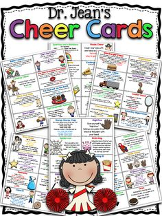 NEW Dr. Jean's Cheer cards have been given a facelift. Here is a collection of all her classic cheers looking better than ever. AND we added a few new ones as well. FREE (I'd use these with all elementary grades. I've seen these make 5th graders grin!)
