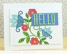 Folk Art Hello Card by Nichole Heady for Papertrey Ink (December 2013)