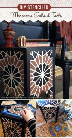 DIY Tutorial - Stenciled Moroccan Inlaid Table with Geometric Moroccan Stencils . - DIY Tutorial – Stenciled Moroccan Inlaid Table with Geometric Moroccan Stencils by Royal Design S - Moroccan Table, Moroccan Home Decor, Stencil Diy, Stencils, Home Crafts, Diy Home Decor, Diy Crafts, Decor Around Tv, Geometric Furniture