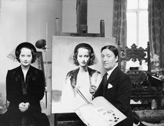 Merle Oberon and her portrait made by Gerald L. Brockhurst (1937)