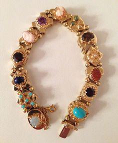 """Vintage 14K Gold Slide Charm Bracelet ~Gemstones ~7"""" ~29.6 Grams ~1 Owner #SlideSlider"""