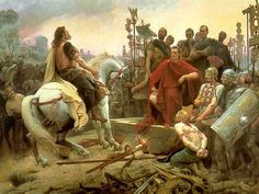 Vercingetorix throws down his arms at the feet of Julius Caesar. Painting by Lionel Royer.