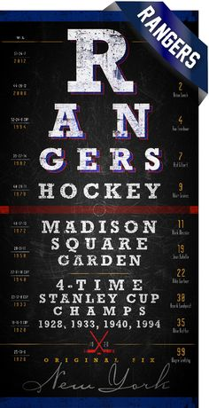 I'm not a Rangers fan. But, this is a cool sign.   New York Rangers Eye Chart  Center Ice Series  Free by RetroLeague, $29.50