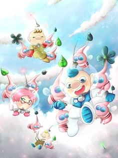 Captain Olimar, Alph, Louie, Brittany and a lot of Winged Pikmins. And you can see a part of Charlie's helmet in a cloud.