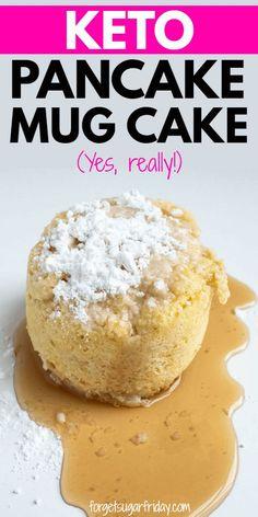 Keto Pancake Mug Cake! It tastes SO good! Keto Pancake Mug Cake! It tastes SO good! Keto Desserts, Keto Friendly Desserts, Keto Snacks, Keto Foods, Cake Mug, Keto Mug Cake, Quick Keto Breakfast, Breakfast Recipes, Pancake Breakfast