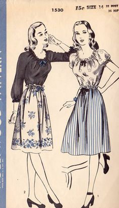 1940s Peasant Blouse and Skirt