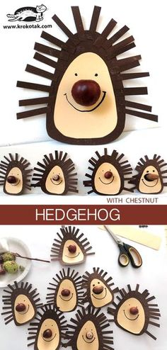 Hedgehog (with chestnut) - # hedgehog # chestnut - Fall Crafts For Kids Kids Crafts, Fall Crafts For Toddlers, Toddler Crafts, Diy For Kids, Arts And Crafts, Paper Crafts, Autumn Activities, Activities For Kids, Hedgehog Craft