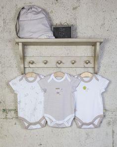 3 Pack Unisex Baby Bodysuits / Vests - Beige Stripe