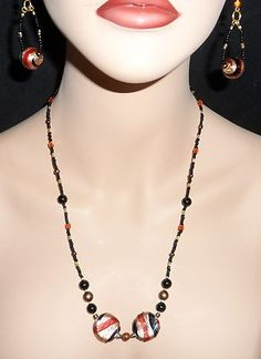 India Glass Necklace and Hoop Earring Set Handmade