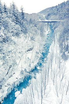 Frozen blue river