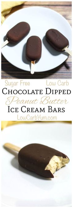 These sugar free low carb chocolate dipped peanut butter ice cream bars are so easy to make. Just whip up peanut butter cream, pour in molds, freeze, and dip!