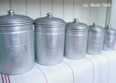 Vintage French aluminium canisters  1940s kitchen by LaBelleVille, €70.00