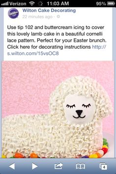 Lamb Cake, Easter Eggs, Easter Cake, Wilton Cake Decorating, Wilton Cakes, Sweets Recipes, Desserts, Buttercream Icing, Easter Brunch