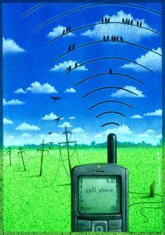 ilustración satírica wifi pajaros