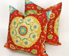 Red Suzani Decorative Pillows, Accent Cushion Covers, Designer Decorator Throw Pillows, Eclectic Summer Bohemian Chic 18x18
