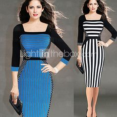 Vita Women's Vintage / Sexy / Bodycon / Casual / Party / Work Tailored Collar ¾ Sleeve Striped / Color Block Dresses - USD $18.99
