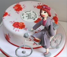 Call of the Midwife cake with painted vintage rose pattern