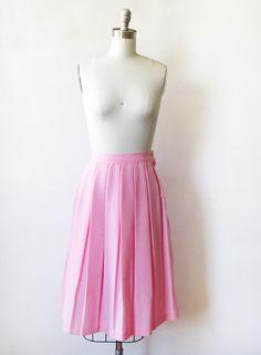 pink pleated skirt / vintage 80s mini skirt / by RustBeltThreads