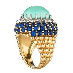 Turquoise Lapis Lazuli Ring | From a unique collection of vintage cocktail rings at https://www.1stdibs.com/jewelry/rings/cocktail-rings/
