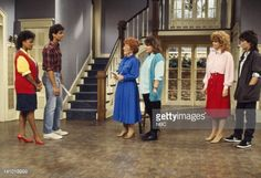 LIFE, THE -- 'Into the Frying Pan' Episode 2 -- Aired -- Pictured: Kim Fields as Dorothy 'Tootie' Ramsey, George Clooney as George Burnett, Charlotte Rae as Mrs. Edna Ann Garrett, Mindy Cohn as...