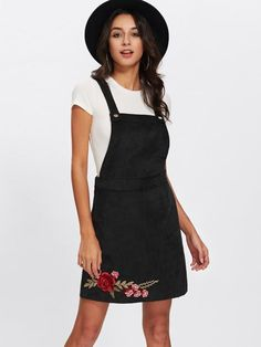 084f9cb40dba Black Patch Overall Rose Embroidery Dress