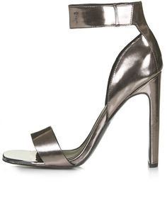 Pewter metallic peeptoe sandals with concealed buckle fastening. heel height - 4.5 inches. 100% polyurethane. spot clean only.