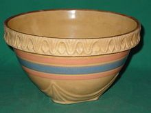 Vintage Nelson McCoy Yellow Ware Mixing Bowl Stoneware My mother had one of these. I hope it is still tucked away somewhere! Antique Crocks, Antique Stoneware, Stoneware Crocks, Antique Pottery, Mccoy Pottery, Pottery Bowls, Earthenware, Vintage Dishware, Bohemia