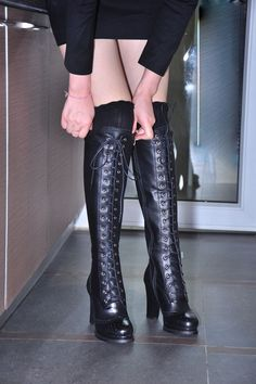 Are you ready to meet your new favorite pair of shoes?  Boots, knee high over the knee lace up high boots platform stacked heel cone heel brown leather shoes 2013 2014 fall winter must have shoes are a girls best friend