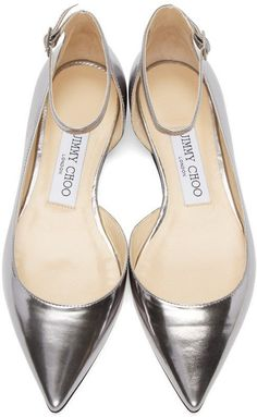 Jimmy Choo Silver Mirrored Lucy Ballerina Flats #jimmychooflats