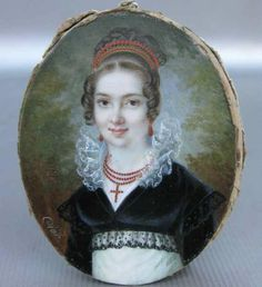 Coral jewelry and hair comb. Charles Pierre Cior, Portrait of a lady, ca.1810