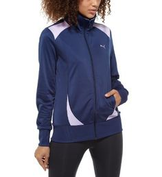 A cool and cozy cover-upThis modern take on the classic track jacket has a style that's zipped-up and laidback all at once. It's cut to flatter the feminine form, while the contrast details make a statement whether you're at the gym or out and about. And when you take it off? Bam!Features:100% brushed polyester for softness and long wearFull-front zip for easy on/off Two pockets at side for convenienceCut and sew panels and embroidered PUMA Cat Logo for modern look