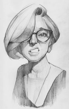 Mike Creighton, female character portrait drawing.