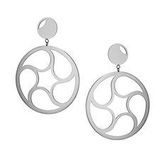Crop Circle Two Hoop Earrings in Sterling Silver