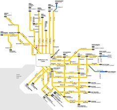 Melbourne-tram-routes.gif (1225×1160) Melbourne Tram, Centre City, Public Transport, Line Chart, Transportation, Maps, Pottery, Ceramica, Blue Prints