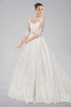 plus size illusion neckline wedding   Seductive Illusion Neckline Wedding Gown with Lace Overlay and 3/4 ...