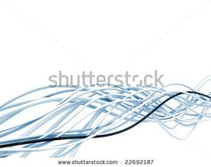 bright metallic fibre-optical blue and white cables on a white background - stock photo